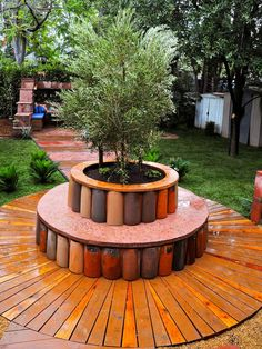 Great idea using old terracotta tubes to create a bench and planting box.   Hues of the Southwest - Luscious Patios on HGTV