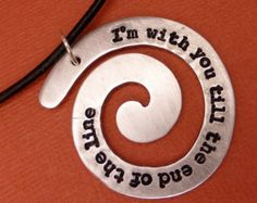 Captain America Inspired - I'm with you 'til the end the line - A  Hand Stamped Aluminum Spiral Necklace
