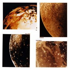 JUPITER'S MOONS — CLOSE-UP    These four views show the great surface variety present on Jupiter's large satellites. We see volcanic deposits on Io, ice fractures on Europa, grooved terrain on Ganymede, and impact basins on Callisto. The relative ages of these surfaces range from Io, the youngest, through Europa and Ganymede, to Callisto, the oldest. Prepared for NASA by Stephen Paul Meszaros