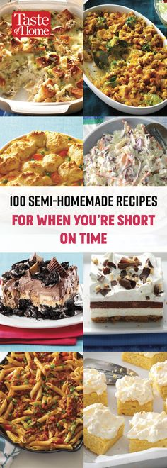 100 Semi-Homemade Recipes for When You're Short on Time Whether you need a quick dinner, last-minute potluck dish or easy appetizer for unexpected guests, these shortcut recipes will get the job done in no time flat. Fast Dinners, Quick Meals, Sandra Lee Recipes, Semi Homemade, Homemade Recipe, Potluck Dishes, Comfort Food, Easy Dinner Recipes, Cooking Recipes
