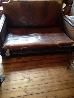 Ultimate shipwreck late Victorian / Edwardian leather sofa with carved oak frame Antique Sofa, Shipwreck, Leather Sofa, Sofas, Carving, Victorian, Couch, Chair, Antiques