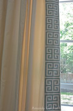 Amanda Carol at Home: DIY Greek Key Trimmed Drapery...A Great way to embellish plain drapes.
