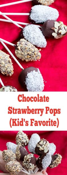 Chocolate Strawberry Pops – Momsdish Chocolate covered strawberry pops, a fantastic Valentine's Day treat for the kiddos. A family favorite. Best Dessert Recipes, Fruit Recipes, Easy Desserts, Delicious Desserts, Baking Recipes, Valentines Breakfast, Valentine Cake, Valentines Day Treats, Chocolate Treats