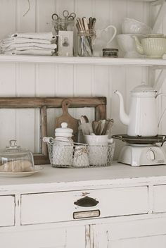vintage, white, kitchen accessories on dresser Repinned by www.silver-and-grey.com