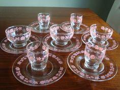 Vintage Pyrex Pink Gooseberry Dessert Sets - Very cute set!