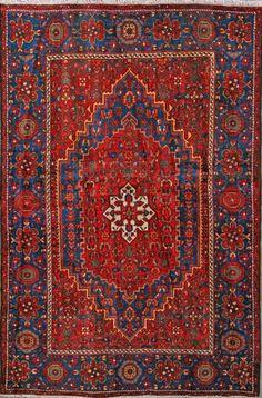 "Bijar Persian Rug 4' 2"" x 6' 4"", Authentic Bijar Handmade Rug"