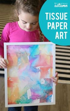 Easy kids art project made with tissue paper! How to make tissue paper art. Easy Kids Art Projects, Easy Art For Kids, Crafts For Kids, Arts And Crafts, Art Projects For Adults, Foam Crafts, Easy Crafts, Easy Diy, Diy Plants