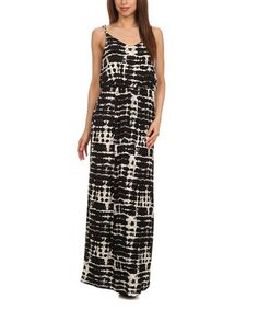 Look at this #zulilyfind! Black Tie-Dye Scoop Neck Maxi Dress #zulilyfinds