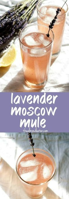 Lavender Moscow Mule, a seriously refreshing take on the classic drink. Making me thirsty! Party Drinks, Cocktail Drinks, Cocktail Recipes, Bourbon Drinks, Cocktail Desserts, Drink Recipes, Lavender Drink, Lavender Syrup, Lavender Cocktail