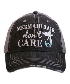 This Gray & Blue 'Mermaid Hair Don't Care' Trucker Hat is perfect! #zulilyfinds