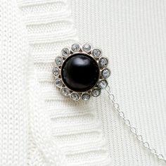 Sweater Guard Clip  Black Pearl / Rhinestone by FoxgloveFawnlily, $18.00