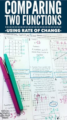 Students will be given two functions to compare all represented different ways(table, equation, graph, or verbal description). They will have to compare the rate of change for each function. All functions have a constant rate of change. This is a great way to introduce functions and to practice using rate of change(without using slope).