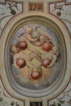Detail of putti playing with Medici balls from Barrel Vault Fantasies Staircase - Palazzo Vecchio - Florence.