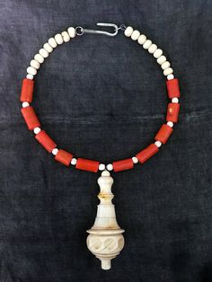 Light me On  Necklace. Antique switch red coral hand