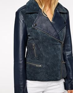suede and leather biker jacket - asos