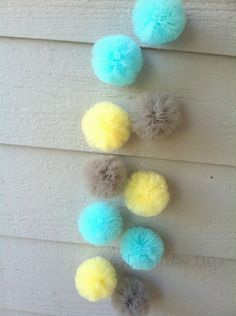 READY TO SHIP - Aqua, yellow, and gray tulle pom garland. $12.50, via Etsy.