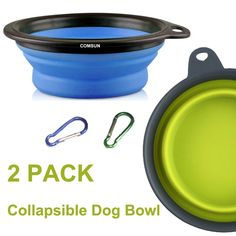 Comsun Large Size Collapsible Dog Bowl, Food Grade Silicone BPA Free FDA Approved, Foldable Expandable Cup Dish for Pet Cat Food Water Feeding Portable Travel Bowl Blue and Green Free Carabiner ** Check this awesome product by going to the link at the image.