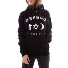 Black Defend Paris Coexist Unisex Hoodie Bought at Kitson LA, but never wore it. New without tags!    Fast Shipping!  Send offers!  Don't forget to bundle!  No trades!  Defend Paris Tops Sweatshirts & Hoodies