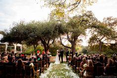 Ceremony under gorgeous oak trees-Four Seasons hotel