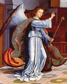 Famous painting of the Archangel Gabriel from the Cervara Altarpiece, by Gerard David