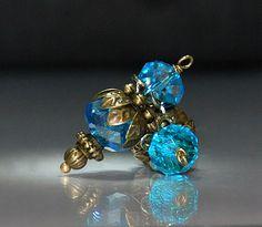 2 Blue Topaz Crystal Vintage Style Bead Dangles or Earrings-Handmade Bead Dangles 10mm Rondelle Glass Beads by goldcountrydangles on Etsy