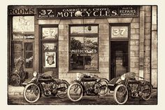 Indian Motorcycle Shop by VisualThrills on Etsy. Picture of some old Indian Motorcycles