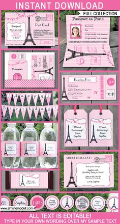 Paris Party Printables, Invitations & Decorations | Editable Birthday Party Theme Templates | INSTANT DOWNLOAD $14.50 via SIMONEmadeit.com Decoration Birthday Party, Paris Birthday Parties, Paris Party, Paris Theme, Paris Invitations, Passport Invitations, Birthday Party Invitations, Boarding Pass Invitation, Party Tickets