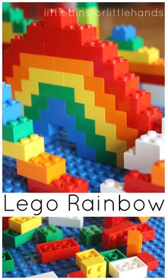 Make Lego rainbows anytime! Cool Lego rainbow challenge for Spring or St Patrick's Day! A Lego rainbow challenge is a great early learning activity too.