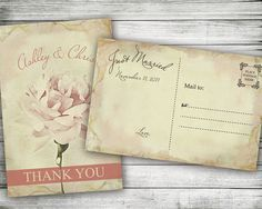 Vintage Wedding Thank You Post Card ~ Rustic Pink Rose, Custom, Floral, Bridal Shower, Baby Shower, Personalized Cards, Birthday Party,
