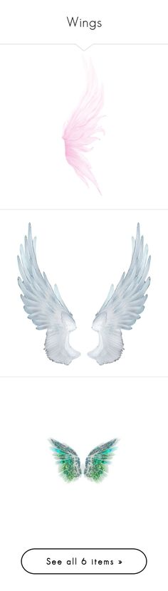 """Wings"" by shena4ever ❤ liked on Polyvore featuring angel wings, wings, fillers, accessories, backgrounds, extra, effects, butterflies, fantasy and text"