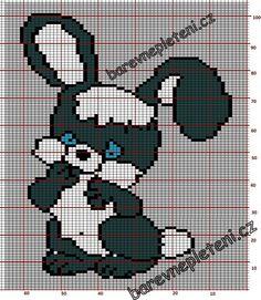 Barevné pletení - vypletené obrázky, žakárové vzory | 028 Velký králík