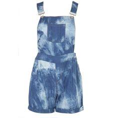 Tasha Denim Tie Dye Dungaree Shorts ($10) ❤ liked on Polyvore featuring shorts, dresses, jumpsuit, vestidos, tie dyed shorts, tie die shorts, denim dungaree, tye dye denim shorts and pocket shorts