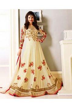 Gopinath Collection Cream Thread Embroidered Semi Stitched Georgette Ethnic Gown Designer Anarkali Dresses, Pakistani Dresses, Designer Dresses, Ethnic Gown, Indian Ethnic Wear, Casual Dresses, Fashion Dresses, Indian Dresses Online, Party Sarees