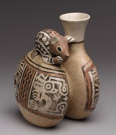 Double Vessel with Mouse ~ 4th-8th century ~ Peru ~ Culture: Recuay ~ Contemporary with the Moche peoples on the coast, those of Recuay were in the highlands around the Callejón de Huaylas in the north-central Andes. They flourished from about 1200 B.C. to 800 A.D., producing distinctive ceramics and stone sculptures decorated with images of rulers and supernatural creatures. Metropolitan Museum of Art
