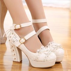 7d8ba2ca212 Womens Girls Lolita Buckle Round Toe Heels Block Platform Lace Casual Shoes  in Clothing