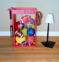 Exceptional Personalized Sports Ball Storage, Unique Storage, Baseball Football Tennis  Soccer Ball Storage, Christmas