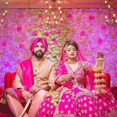 Punjabi Wedding Decor, Sikh Bride, Punjabi Couple, Royal Brides, Indian Wear, Bridal Dresses, Aurora Sleeping Beauty, Dream Wedding, Wedding Decorations