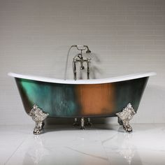 'The 73 Cast Iron French Bateau Clawfoot Tub with Copper Patina Exterior plus Drain Slipper Tubs, Tub Paint, Tubs For Sale, Copper Patina, Tub Faucet, Bathtubs For Sale, Clawfoot Tub, Bathtub