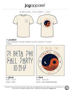 JCG Apparel : Custom Printed Apparel : Pi Beta Phi Fall Party T-Shirt #pibetaphi #piphi #pbp #fall #party #mixer #swap #social #yinyang #dynamicduos #retreat Pi Beta Phi, Phi Mu, Social Themes, Dynamic Duos, Greek Shirts, Custom Design Shirts, Sorority And Fraternity, Greek Clothing, Comfort Colors