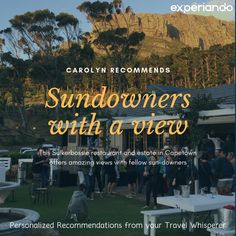 Check out 'Sundowners with a view' from our member Caroyln for Suikerbossie Restaurant in Cape Town! For more similar recommendations, be sure to check out www. Cape Town, Traveling By Yourself, Restaurant, Check, Restaurants, Dining Room