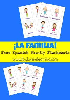 Check out these cute free Spanish family flashcards from Look Were Learning. What a great way to teach vocabulary. - check more on my website Spanish Flashcards, Spanish Vocabulary, Spanish Language Learning, Teaching Spanish, Teaching French, High School Spanish, Elementary Spanish, Spanish Teacher, Spanish Classroom