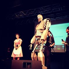 Puppet, prop and costume maker Orvis Evans with his impressive Iron Giant puppet at the International Cosplay Day Singapore show.