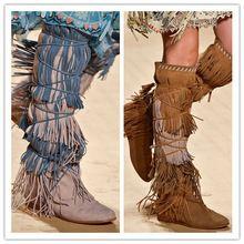 d1fbe9ff 2015 marca Bohemia cordones mujeres botas otoño cuña de la borla del talón  altura aumento hasta