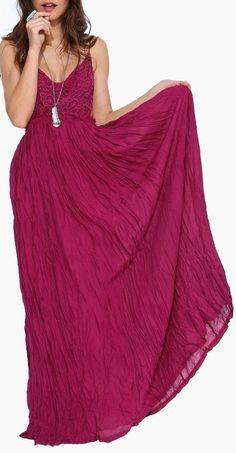 Burgundy Boho Maxi Dress ♥