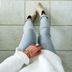 Booties and oversized sweater