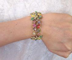 Vintage 1950s Bracelet in Pastel Rhinestones
