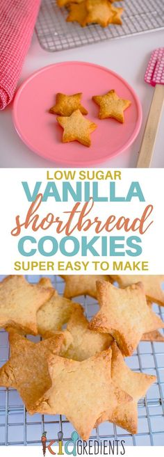 These simple healthier sweet biscuits are basically a low sugar vanilla shortbread cookie! #kidsfood #snacks #lowsugar #baking #shortbread #healthier #lunchbox via @kidgredients