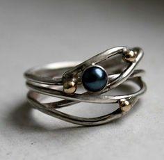 Black Pearl in Orbit Ring with 14k Gold Beads by Rachel Pfeffer on etsy. Loveee this!
