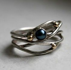 Black Pearl in Orbit Ring with 14k Gold Beads by Rachel Pfeffer on etsy. Loveee this!