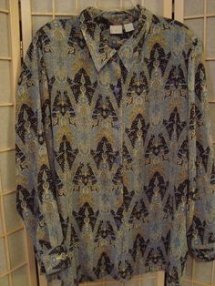 Studio C Sz 26/28W Navy & Pastel Blues Semi Sheer Button Front Long Top #StucioC #ButtonDownShirt